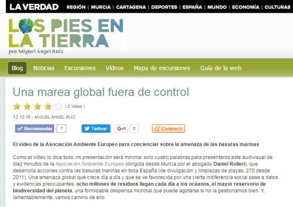 El vídeo de la ASOCIACIÓN AMBIENTE EUROPEO para concienciar sobre la amenaza de las basuras marinas