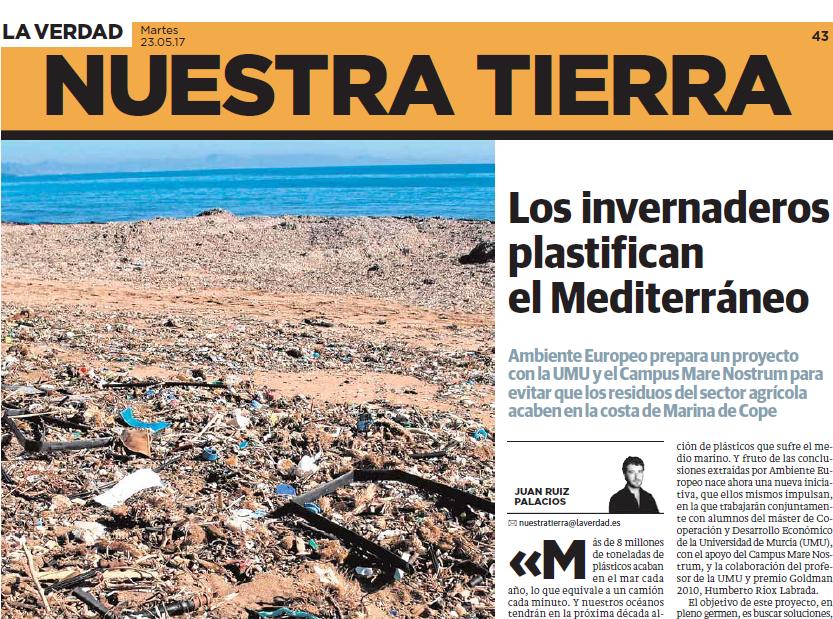 La ASOCIACIÓN AMBIENTE EUROPEO y las basuras marinas originadas por la agricultura.