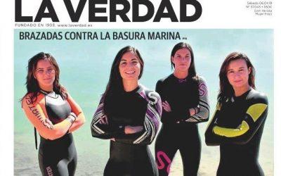 El reto 2019 #HéroesDelMar de BRAZADAS DE VIDA y AMBIENTE EUROPEO en portada de La Verdad.